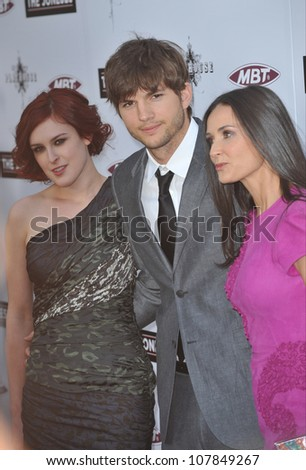 "LOS ANGELES, CA - APRIL 8, 2010: Demi Moore & Ashton Kutcher & her daughter Rumer Willis (left) at the Los Angeles premiere of her new movie ""The Joneses"" at the Arclight Theatre, Hollywood. - stock photo"
