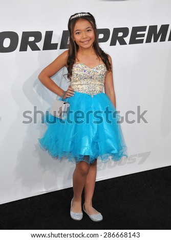 """LOS ANGELES, CA - APRIL 1, 2015: Eden Estrella at the world premiere of """"Furious 7"""" at the TCL Chinese Theatre, Hollywood.  - stock photo"""