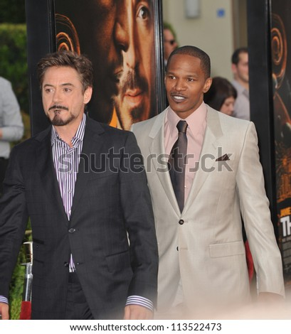 LOS ANGELES, CA - APRIL 20, 2009: Jamie Foxx & Robert Downey Jr at the Los Angeles premiere of their new movie The Soloist at Paramount Theatre, Hollywood. - stock photo