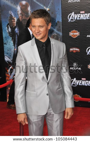 "LOS ANGELES, CA - APRIL 11, 2012: Jeremy Renner at the world premiere of his new movie ""Marvel's The Avengers"" at the El Capitan Theatre, Hollywood. April 11, 2012  Los Angeles, CA - stock photo"