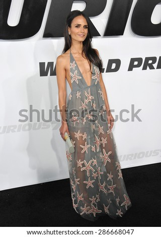 """LOS ANGELES, CA - APRIL 1, 2015: Jordana Brewster at the world premiere of her movie """"Furious 7"""" at the TCL Chinese Theatre, Hollywood.  - stock photo"""