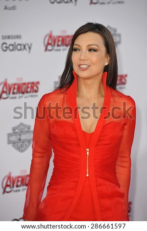 """LOS ANGELES, CA - APRIL 13, 2015: Ming-Na Wen at the world premiere of """"Avengers: Age of Ultron"""" at the Dolby Theatre, Hollywood.  - stock photo"""