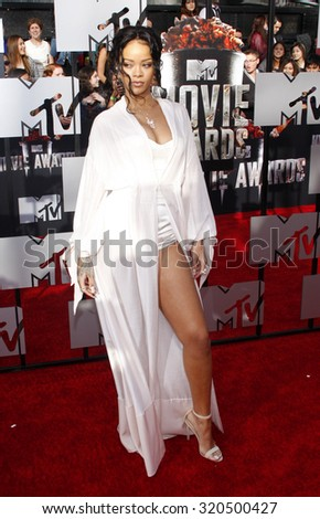 LOS ANGELES, CA - APRIL 13, 2014: Rihanna at the 2014 MTV Movie Awards held at the Nokia Theatre L.A. Live in Los Angeles, USA on April 13, 2014. - stock photo