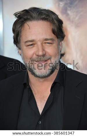 "LOS ANGELES, CA - APRIL 16, 2015: Russell Crowe at the Los Angeles premiere of his movie ""The Water Diviner"" at the TCL Chinese Theatre, Hollywood. - stock photo"