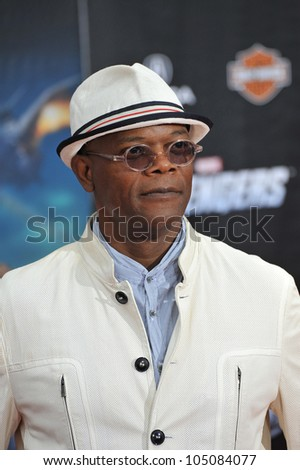 """LOS ANGELES, CA - APRIL 11, 2012: Samuel L. Jackson at the world premiere of his new movie """"Marvel's The Avengers"""" at the El Capitan Theatre, Hollywood. April 11, 2012  Los Angeles, CA - stock photo"""