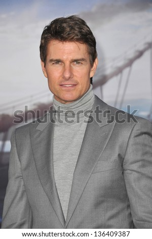 "LOS ANGELES, CA - APRIL 10, 2013: Tom Cruise at the American premiere of his new movie ""Oblivion"" at the Dolby Theatre, Hollywood. - stock photo"