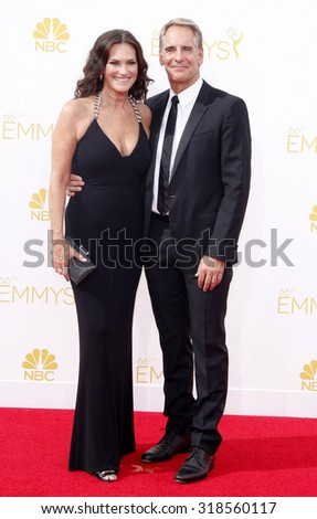 LOS ANGELES, CA - AUGUST 25, 2014: Chelsea Field and Scott Bakula at the 66th Annual Primetime Emmy Awards held at the Nokia Theatre L.A. Live in Los Angeles, USA on August 25, 2014. - stock photo