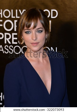 LOS ANGELES, CA - AUGUST 13, 2015: Dakota Johnson at the Hollywood Foreign Press Association's Grants Banquet at the Beverly Wilshire Hotel.  - stock photo