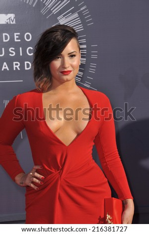 LOS ANGELES, CA - AUGUST 24, 2014: Demi Lovato at the 2014 MTV Video Music Awards at the Forum, Los Angeles.  - stock photo