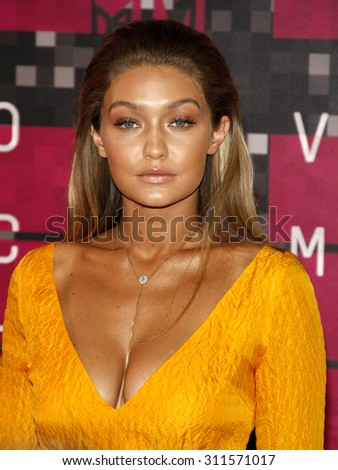 LOS ANGELES, CA - AUGUST 30, 2015: Gigi Hadid at the 2015 MTV Video Music Awards held at the Microsoft Theater in Los Angeles, USA on August 30, 2015. - stock photo