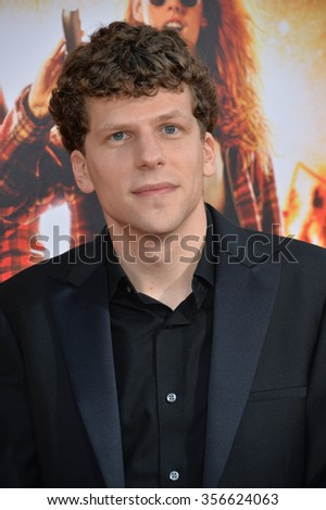 "LOS ANGELES, CA - AUGUST 18, 2015: Jesse Eisenberg at the world premiere of his movie ""American Ultra"" at The Ace Hotel Downtown.