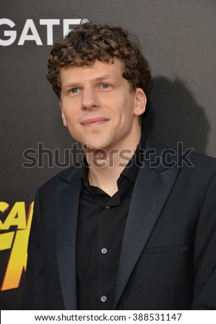 """LOS ANGELES, CA - AUGUST 18, 2015: Jesse Eisenberg at the world premiere of his movie """"American Ultra"""" at The Ace Hotel Downtown. - stock photo"""