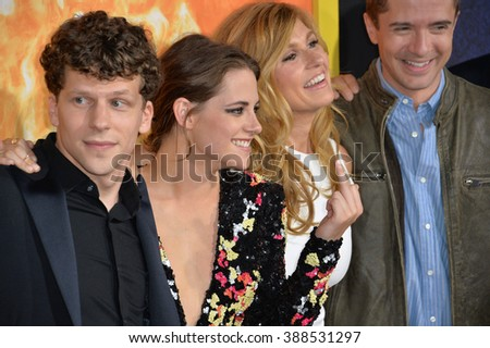 """LOS ANGELES, CA - AUGUST 18, 2015: Jesse Eisenberg, Kristen Stewart, Connie Britton & Topher Grace at the world premiere of their movie """"American Ultra"""" at The Ace Hotel Downtown. - stock photo"""