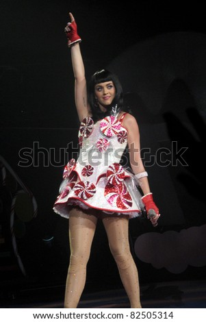 "LOS ANGELES, CA - AUGUST 05: Katy Perry performs during the American leg of her ""California Dreams Tour 2011"" at the NOKIA Theatre L.A. LIVE on August 5, 2011 in Los Angeles, California. - stock photo"