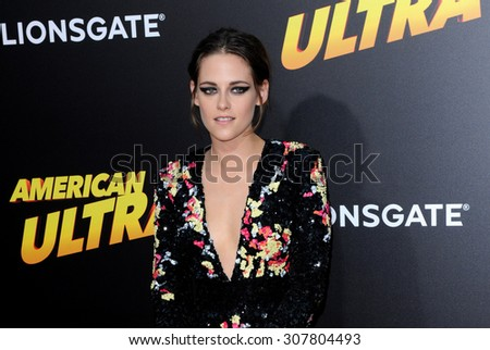 LOS ANGELES, CA - AUGUST 18, 2015: Kristen Stewart at the Los Angeles premiere of 'American Ultra' held at the Ace Theater Downtown LA in Los Angeles, USA on August 18, 2015. - stock photo