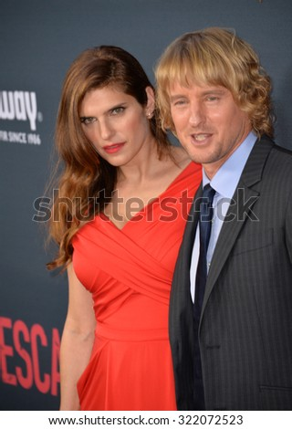 "LOS ANGELES, CA - AUGUST 17, 2015: Lake Bell & Owen Wilson at the Los Angeles premiere of their movie ""No Escape"" at the Regal Cinemas LA Live. 