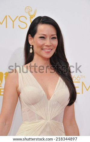 LOS ANGELES, CA - AUGUST 25, 2014: Lucy Liu at the 66th Primetime Emmy Awards at the Nokia Theatre L.A. Live downtown Los Angeles.  - stock photo