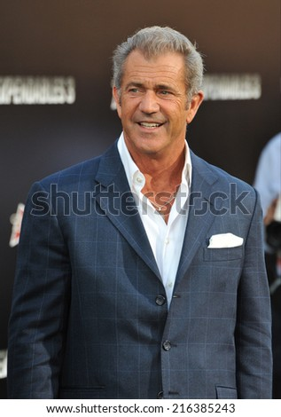 "LOS ANGELES, CA - AUGUST 11, 2014: Mel Gibson at the Los Angeles premiere of his movie ""The Expendables 3"" at the TCL Chinese Theatre, Hollywood.  - stock photo"