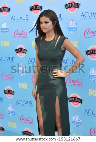 LOS ANGELES, CA - AUGUST 11, 2013: Selena Gomez at the 2013 Teen Choice Awards at the Gibson Amphitheatre, Universal City, Hollywood.  - stock photo