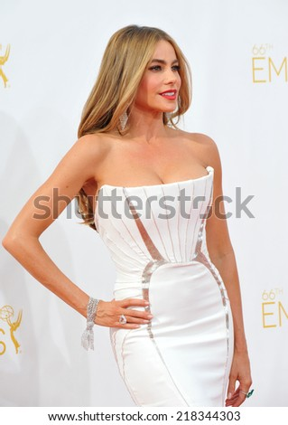 LOS ANGELES, CA - AUGUST 25, 2014: Sofia Vergara at the 66th Primetime Emmy Awards at the Nokia Theatre L.A. Live downtown Los Angeles.  - stock photo