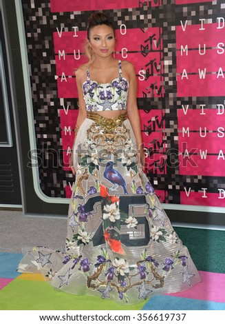 LOS ANGELES, CA - AUGUST 30, 2015: TV presenter Jeannie Mai at the 2015 MTV Video Music Awards at the Microsoft Theatre LA Live. - stock photo