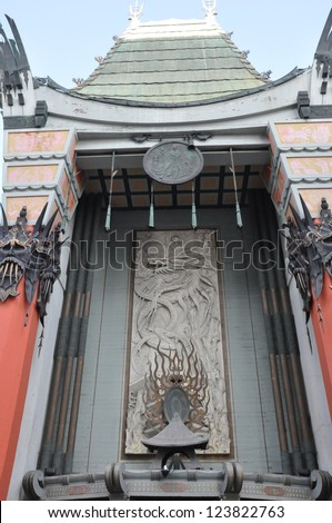 LOS ANGELES, CA - DEC 7: Historic Grauman's Chinese Theater in Los Angeles, CA on December 7, 2012. Opened in 1922, this Hollywood landmark is on the Hollywood Walk of Fame and attracts many visitors. - stock photo
