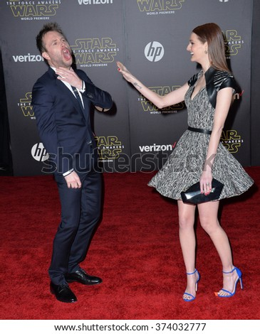 "LOS ANGELES, CA - DECEMBER 14, 2015: Actor Chris Hardwick & model Lydia Hearst at the world premiere of ""Star Wars: The Force Awakens"" on Hollywood Boulevard. Picture: Paul Smith / Featureflash - stock photo"