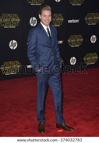 "LOS ANGELES, CA - DECEMBER 14, 2015: Actor Dominic Sherwood at the world premiere of ""Star Wars: The Force Awakens"" on Hollywood Boulevard. Picture: Paul Smith / Featureflash - stock photo"