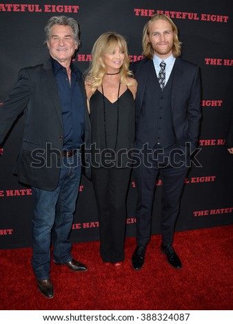 "LOS ANGELES, CA - DECEMBER 7, 2015: Actor Kurt Russell & actress Goldie Hawn & actor son Wyatt Russell at the world premiere of Quentin Tarantino's ""The Hateful Eight"" at the Cinerama Dome, Hollywood - stock photo"