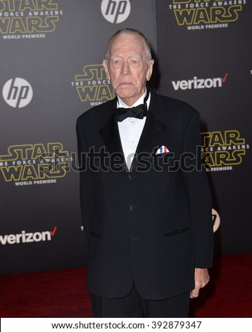 "LOS ANGELES, CA - DECEMBER 14, 2015: Actor Max von Sydow at the world premiere of ""Star Wars: The Force Awakens"" on Hollywood Boulevard - stock photo"