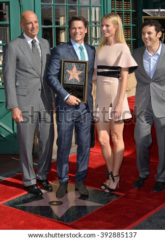 LOS ANGELES, CA - DECEMBER 8, 2015: Actor Rob Lowe with actress Gwyneth Paltrow, Miramax chairman Tom Barrack & actor Fred Savage at Lowe's Walk of Fame star ceremony - stock photo