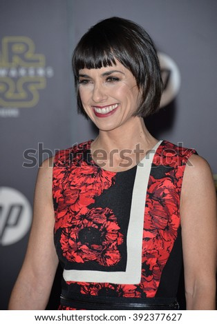 """LOS ANGELES, CA - DECEMBER 14, 2015: Actress Constance Zimmer at the world premiere of """"Star Wars: The Force Awakens"""" on Hollywood Boulevard - stock photo"""