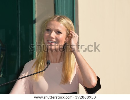 LOS ANGELES, CA - DECEMBER 8, 2015: Actress Gwyneth Paltrow on Hollywood Boulevard where Rob Lowe was honored with the 2,567th star on the Hollywood Walk of Fame.  - stock photo