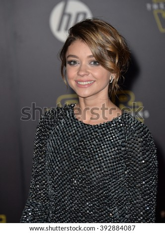 """LOS ANGELES, CA - DECEMBER 14, 2015: Actress Sarah Hyland at the world premiere of """"Star Wars: The Force Awakens"""" on Hollywood Boulevard - stock photo"""