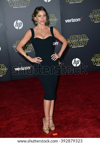 """LOS ANGELES, CA - DECEMBER 14, 2015: Actress Sofia Vergara at the world premiere of """"Star Wars: The Force Awakens"""" on Hollywood Boulevard - stock photo"""