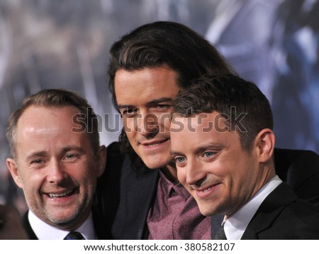 """LOS ANGELES, CA - DECEMBER 9, 2014: Billy Boyd (left), Orlando Bloom & Elijah Wood at the Los Angeles premiere of """"The Hobbit: The Battle of the Five Armies"""" at the Dolby Theatre, Hollywood. - stock photo"""
