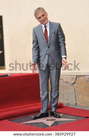 LOS ANGELES, CA - DECEMBER 1, 2014: Christoph Waltz at Hollywood Walk of Fame ceremony honoring Christoph Waltz with the 2,536th star on the Walk of Fame. - stock photo