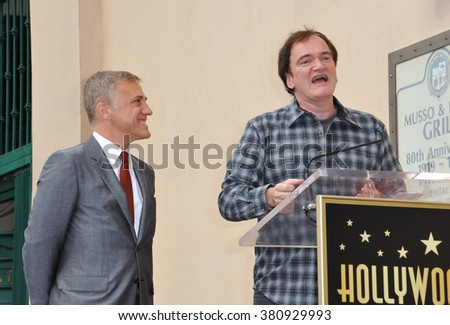 LOS ANGELES, CA - DECEMBER 1, 2014: Christoph Waltz with Quentin Tarantino at Hollywood Walk of Fame ceremony honoring Christoph Waltz with the 2,536th star on the Walk of Fame. - stock photo