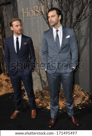 "LOS ANGELES, CA - DECEMBER 2, 2013: Dean O'Gorman (left) & Aidan Turner at the Los Angeles premiere of their movie ""The Hobbit: The Desolation of Smaug"" at the Dolby Theatre, Hollywood.  - stock photo"