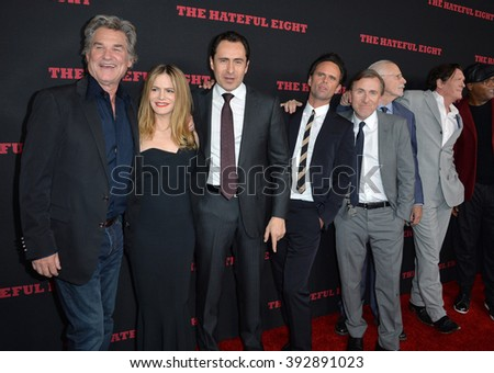 "LOS ANGELES, CA - DECEMBER 7, 2015: Hateful Eight stars Kurt Russell (left), Jennifer Jason Leigh, Demian Bishir, Walton Goggins, Tim Roth & Michael Madsen at the premiere ""The Hateful Eight"" - stock photo"