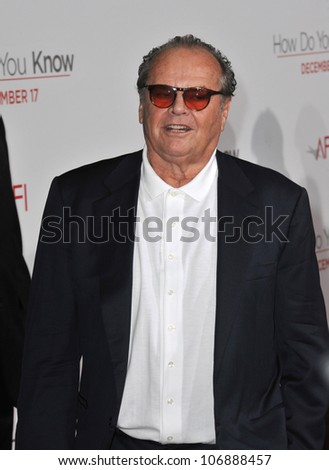 """LOS ANGELES, CA - DECEMBER 13, 2010: Jack Nicholson at the world premiere of his new movie """"How Do You Know"""" at the Mann Village Theatre, Westwood. December 13, 2010  Los Angeles, CA - stock photo"""
