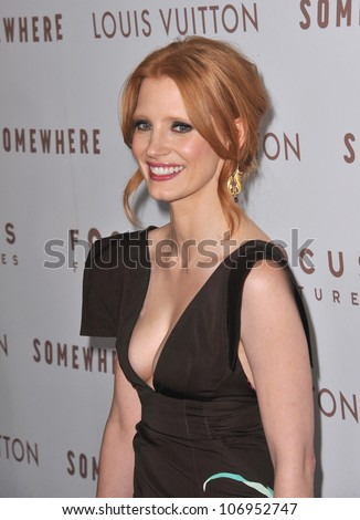 """LOS ANGELES, CA - DECEMBER 7, 2010: Jessica Chastain at the Los Angeles premiere of """"Somewhere"""" at the Arclight Theatre, Hollywood. December 7, 2010  Los Angeles, CA - stock photo"""