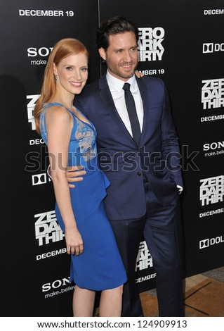 """LOS ANGELES, CA - DECEMBER 10, 2012: Jessica Chastain & Edgar Ramirez at the premiere of their movie """"Zero Dark Thirty"""" at the Dolby Theatre, Hollywood. - stock photo"""