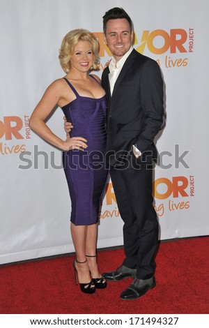 LOS ANGELES, CA - DECEMBER 8, 2013: Megan Hilty & new husband Brian Gallagher at the 15th Anniversary TrevorLIVE gala to benefit the Trevor Project at the Hollywood Palladium.  - stock photo