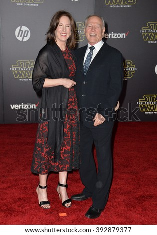 """LOS ANGELES, CA - DECEMBER 14, 2015: Producers Frank Marshall & Kathleen Kennedy at the world premiere of """"Star Wars: The Force Awakens"""" on Hollywood Boulevard - stock photo"""