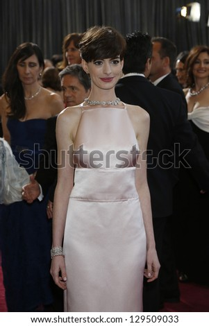 LOS ANGELES, CA - FEB 24: Anne Hathaway at the 85th Annual Academy Awards on February 24, 2013 in Los Angeles, California - stock photo