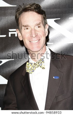 LOS ANGELES, CA - FEB 9: Bill Nye at the Tesla Worldwide Debut of Model X on February 9, 2012 in Hawthorne, Los Angeles, California - stock photo