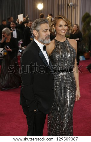 LOS ANGELES, CA - FEB 24: George Clooney, Stacy Keibler at the 85th Annual Academy Awards on February 24, 2013 in Los Angeles, California - stock photo