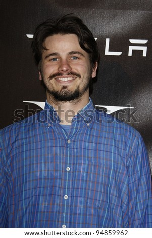 LOS ANGELES, CA - FEB 9: Jason Ritter at the Tesla Worldwide Debut of Model X on February 9, 2012 in Hawthorne, Los Angeles, California - stock photo