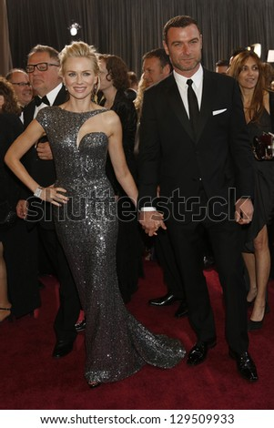 LOS ANGELES, CA - FEB 24: Naomi Watts, Liev Schreiber at the 85th Annual Academy Awards on February 24, 2013 in Los Angeles, California - stock photo